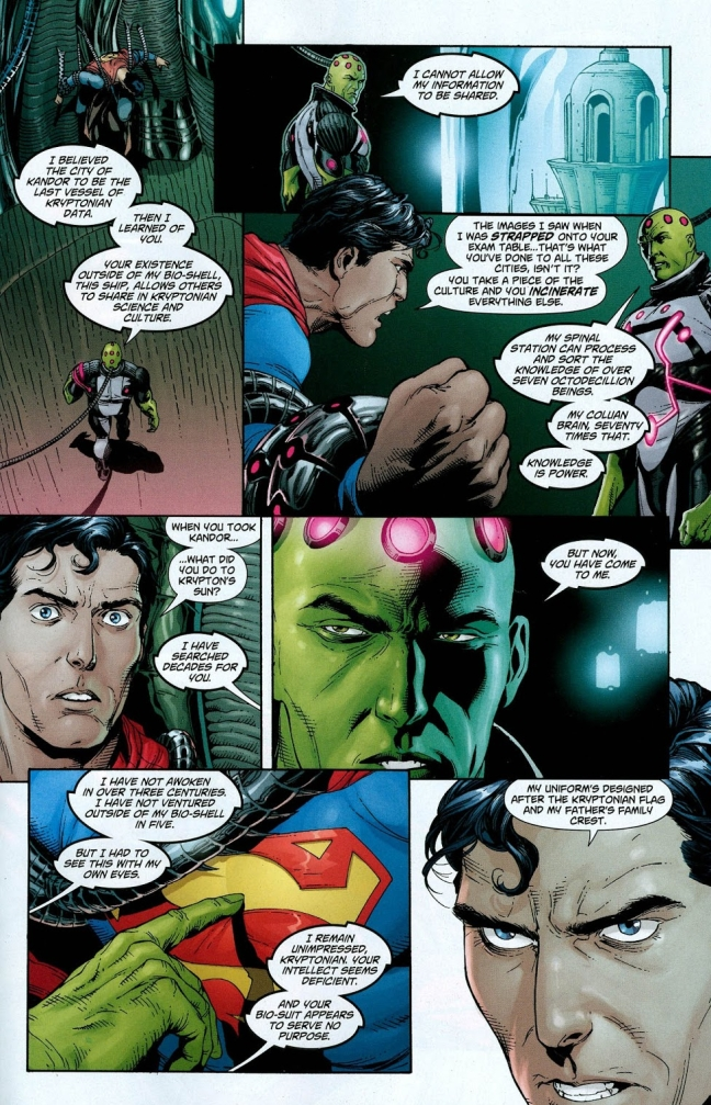 """In 'Action Comics' (2008) #868, Brainiac states an intelligence feat. Brainiac's Coluan brain can process the knowledge of """"over seventy times seven octodecillion beings."""""""