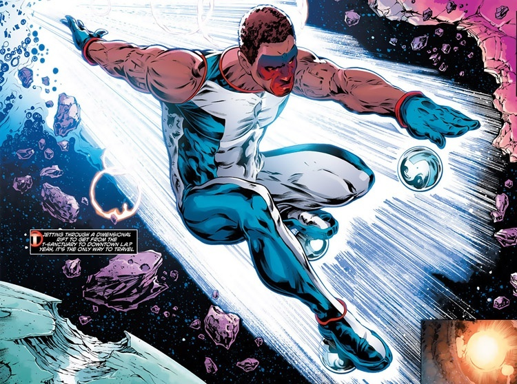 Mr. Terrific flying with his T. spheres in space.