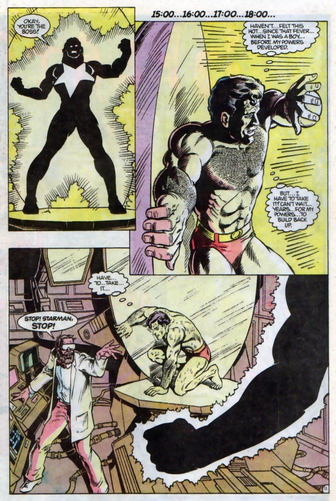 In 'Starman' (1990) #28, Starman attempts to restore Superman's super powers with his solar energy.