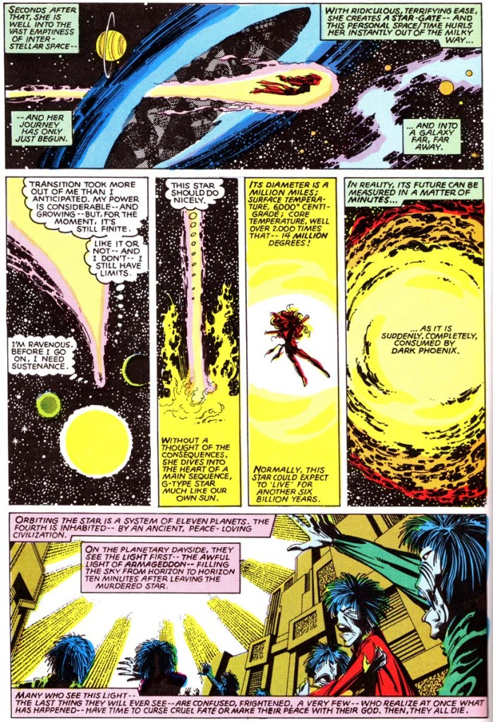 In 'X-Men' (1980) #135, Phoenix consumes the D'Bari star causes the near extinction of the D'Bari.