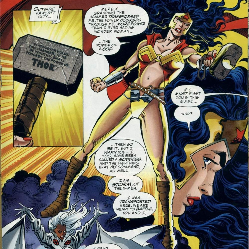 In 'DC Versus Marvel' (1996) #3, Wonder Woman renounces Mjolnir in order to have a fair fight against Storm.